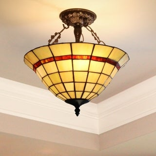 Heathcliff 14-inch Tiffany Style Semi-Flush Mount Ceiling Lamp