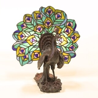 14-inch Peacock Statuette & Lighted Tiffany-Style Glass Plumes Lamp