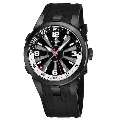 Perrelet Men's A1093/1 'Turbine GMT' Black/Silver Dial Black Rubber Strap Automatic Watch