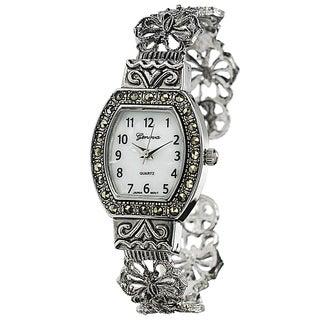 Geneva Platinum Convex Marcasite Women's Watch
