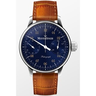 MeisterSinger Men's SC108 'Paleograph' Blue Dial Brown Leather Strap Chronograph Automatic Watch