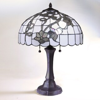 Chelsea White and Silver Tiffany-Style Table Lamp with 16-inch Shade