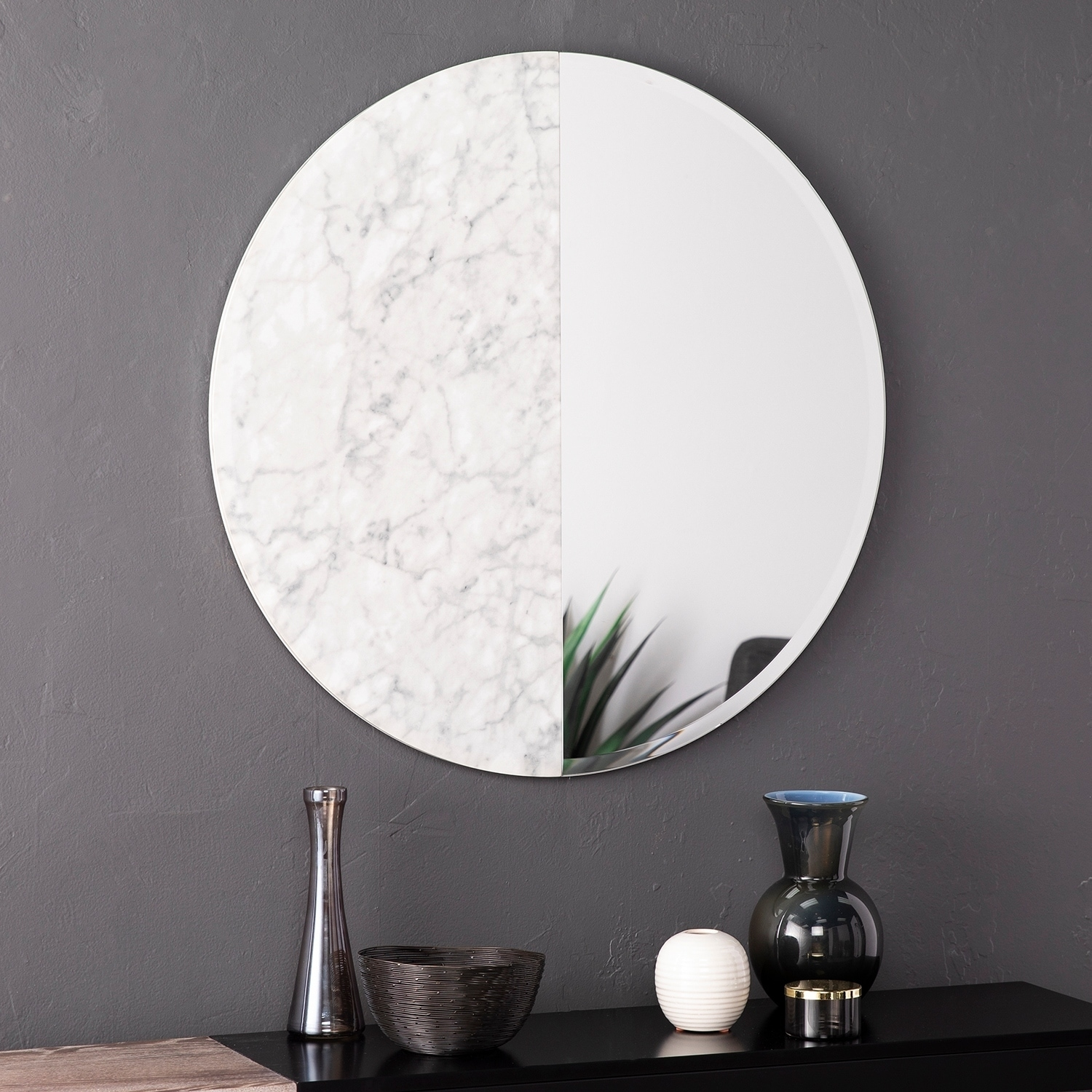 Shop Holly Martin Bowers Round Faux Marble Accent Wall Mirror Overstock 25641879