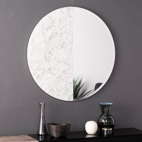 Holly & Martin Bowers Round Faux Marble Accent Wall Mirror