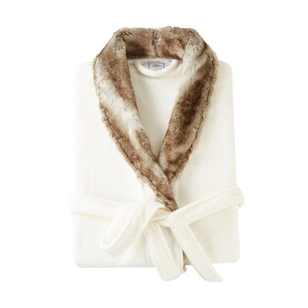 Chic Home Nougat Robe Cozy Ultra Plush Faux Fur Fleece Sherpa Trim