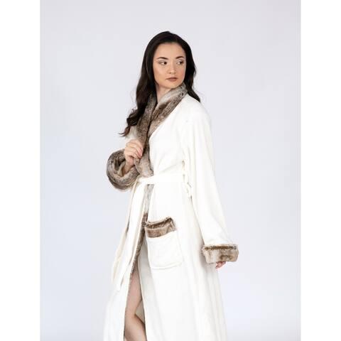 Chic Home Nougat Robe Cozy Ultra Plush Fleece Sherpa Trim