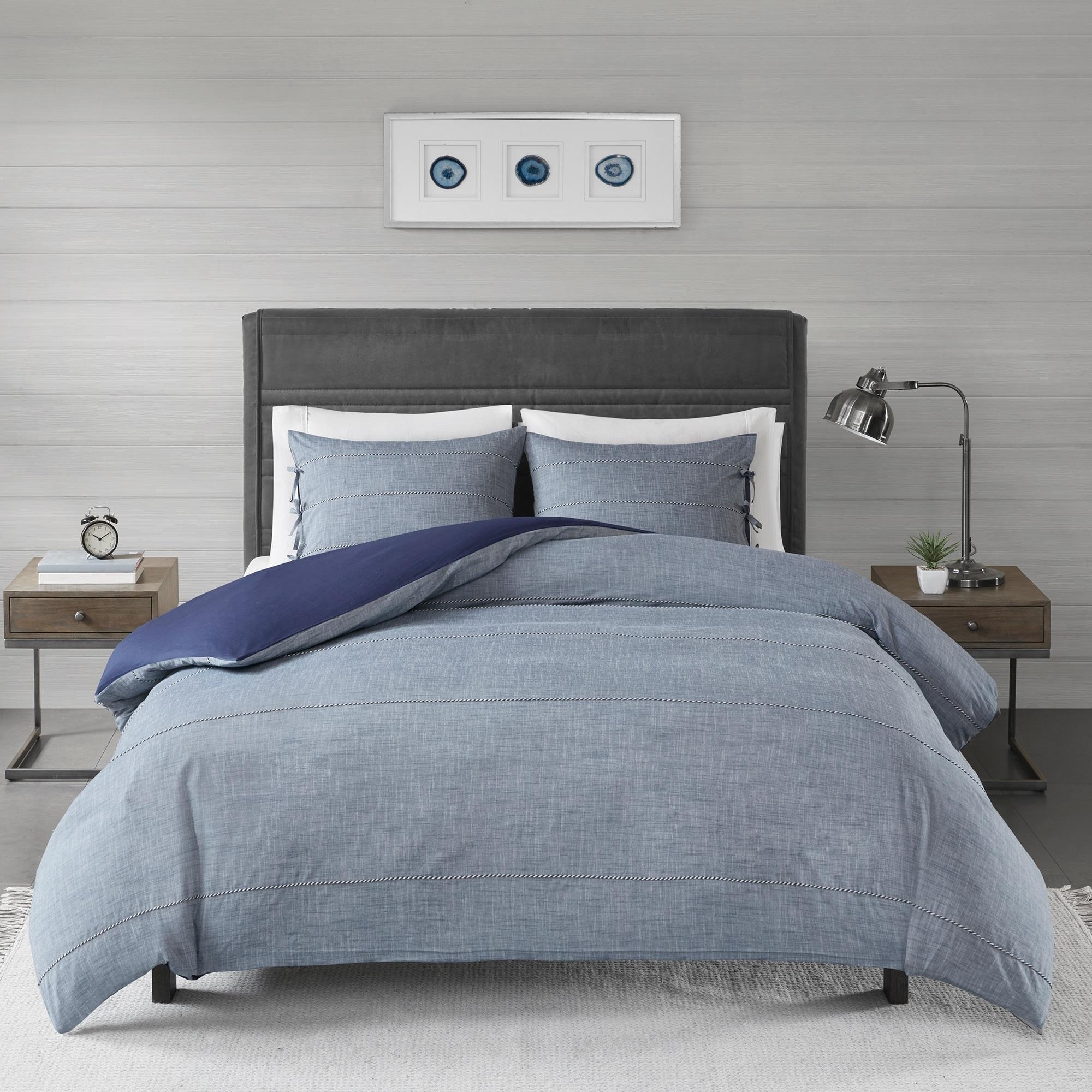 Madison Park Norris Denim Blue Cotton Yarn Dye King Cal King Size Duvet Cover Set As Is Item Overstock 25641886