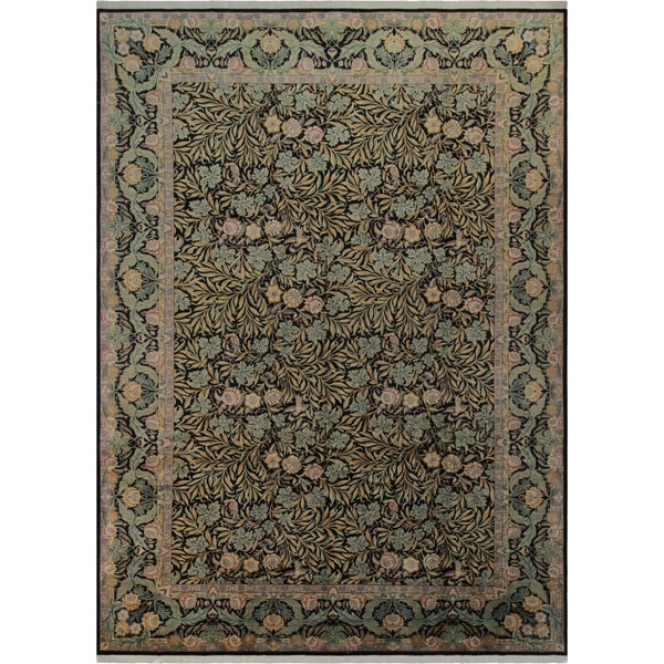 Imran Pak-Persian Miranda Black/Black Wool Rug (10'3 x 14'3) - 10 ft. 3 in. x 14 ft. 3 in.