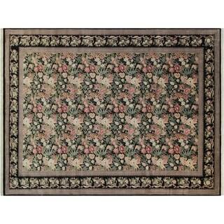 David Pak-Persian Cheri Black/Black Wool Rug (10'1 x 13'10) - 10 ft. 1 in. x 13 ft. 10 in.