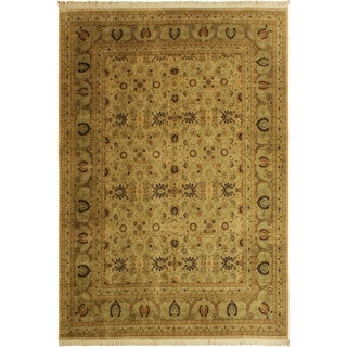 Pak-Persian Alisha Tan/Dark Gold Wool Rug (9'10 x 13'10) - 9 ft. 10 in. x 13 ft. 10 in.