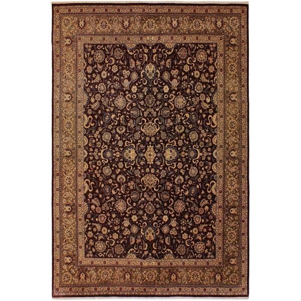 Pak-Persian Terry Aubergine/Lt. Brown Wool Rug (8'5 x 10'2) - 8 ft. 5 in. x 10 ft. 2 in.