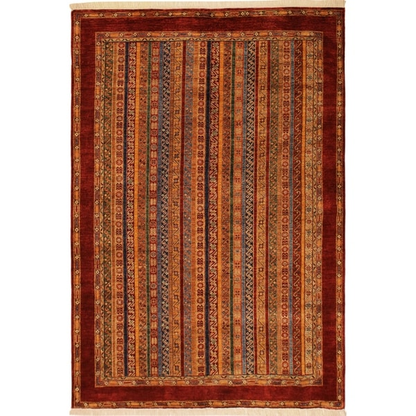 Shawl Garish Mose Red/Red Wool Rug (6'9 x 9'7) - 6 ft. 9 in. x 9 ft. 7 in.