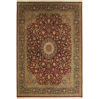 Isphan Pak-Persian Winifred Red/Blue Wool&Silk Rug (10'0 x 13'9) - 10 ft. 0 in. x 13 ft. 9 in.