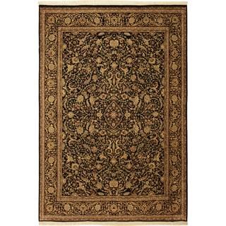 Kashan Pak-Persian Noel Black/Black Wool Rug (9'1 x 11'9) - 9 ft. 1 in. x 11 ft. 9 in.