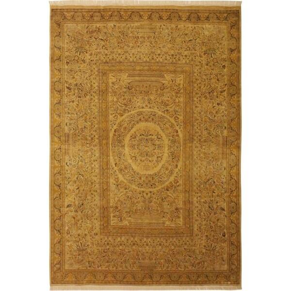 Zarqa Pak-Persian Mandi Ivory/Ivory Wool Rug (9'1 x 12'5) - 9 ft. 1 in. x 12 ft. 5 in.