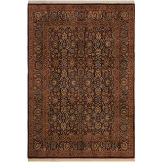 Pak-Persian Dara Aubergine/Green Wool Rug (8'0 x 10'1) - 8 ft. 0 in. x 10 ft. 1 in.