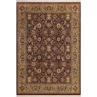 Agra Pak-Persian Soledad Aubergine/Gray Wool Rug (8'2 x 10'2) - 8 ft. 2 in. x 10 ft. 2 in.