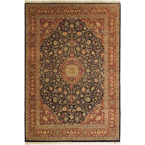 Kazveen Pak-Persian Tammie Drk. Blue/Drk. Red Wool&Silk Rug (9'9 x 14'4) - 9 ft. 9 in. x 14 ft. 4 in.
