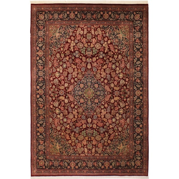 Kashan Pak-Persian Breanna Red/Blue Wool Rug (9'2 x 12'3) - 9 ft. 2 in. x 12 ft. 3 in.