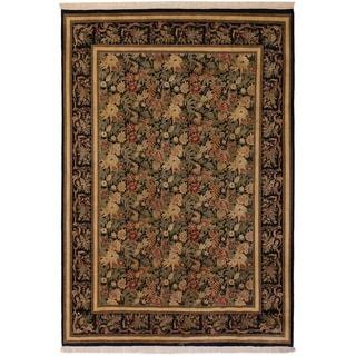 David Pak-Persian Roxanna Black/Black Wool Rug (9'0 x 12'4) - 9 ft. 0 in. x 12 ft. 4 in.