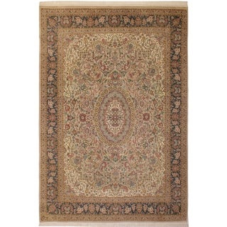 Anarkali Pak-Persian Isabell Lt. Gray/Green Wool Rug (8'11 x 12'0) - 8 ft. 11 in. x 12 ft. 0 in.
