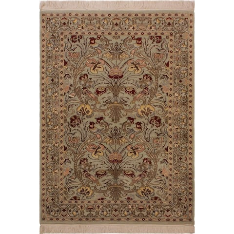 Pak-Persian Josette Lt. Green/Lt. Green Wool Rug (3'1 x 5'1) - 3 ft. 1 in. x 5 ft. 1 in. - 3 ft. 1 in. x 5 ft. 1 in.