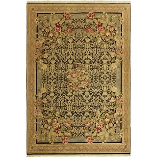Pak-Persian Shizuko Black/Tan Wool Rug (9'0 x 13'0) - 9 ft. 0 in. x 13 ft. 0 in.