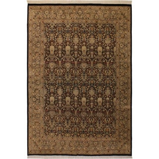 Pak-Persian Tula Black/Green Wool Rug (9'1 x 12'0) - 9 ft. 1 in. x 12 ft. 0 in.