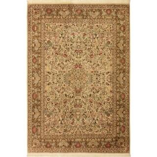 Pak-Persian Kristal Ivory/Brown Wool Rug (9'0 x 12'1) - 9 ft. 0 in. x 12 ft. 1 in.