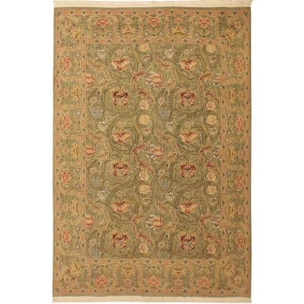 Marry Gold Pak-Persian Roxana Lt. Green/Lt. Green Wool Rug (9'2 x 12'8) - 9 ft. 2 in. x 12 ft. 8 in.