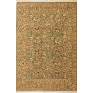 Marry Gold Pak-Persian Roxana Lt. Green/Lt. Green Wool Rug (9'2 x 12'8) - 9 ft. 2 in. x 12 ft. 8 in.