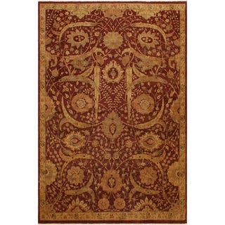 Jajem Istanbubl Lavastone Low-Pile Julieann Red/Gold Wool Rug (7'11 x 10'10) - 7 ft. 11 in. x 10 ft. 10 in.