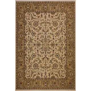 Istanbul Miriam Ivory/Lt. Green Wool Rug (8'3 x 10'1) - 8 ft. 3 in. x 10 ft. 1 in.