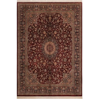 Isphan Pak-Persian Leo Red/Blue Wool Rug (8'2 x 10'4) - 8 ft. 2 in. x 10 ft. 4 in.