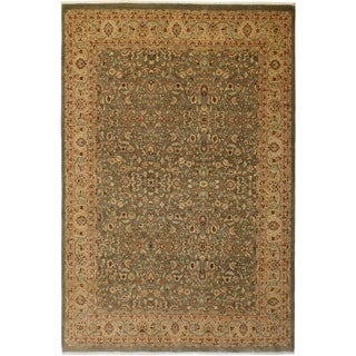 Vegtable Dye Istanbul Alyce Green/Tan Wool Rug (9'1 x 12'9) - 9 ft. 1 in. x 12 ft. 9 in.