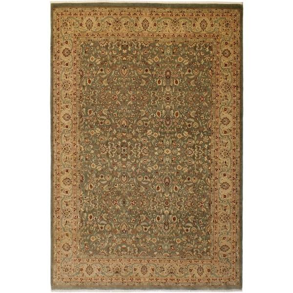 Vegtable Dye Istanbul Alyce Green/Tan Wool Rug (9'1 x 12'9) - 9 ft. 1 in. x 12 ft. 9 in.
