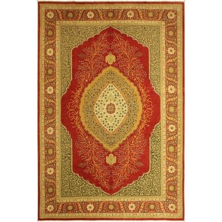 Istanbul Reba Red/Red Wool Rug (9'9 x 13'6) - 9 ft. 9 in. x 13 ft. 6 in.
