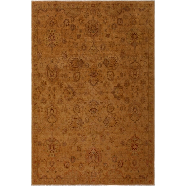 Istatnbul Lavastone Low-Pile Deb Gold/Gold Wool Rug (8'1 x 11'1) - 8 ft. 1 in. x 11 ft. 1 in.