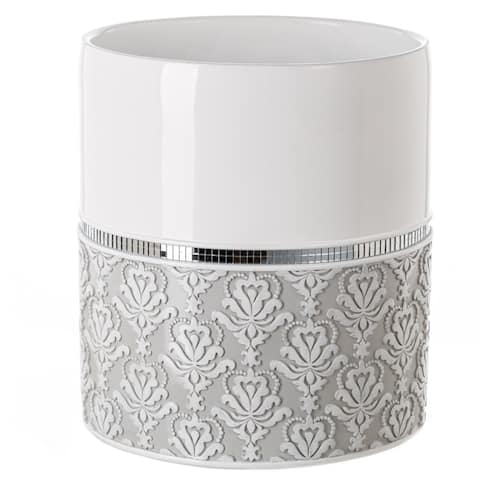 Mirror Damask Bathroom Decorative Wastebasket(Grey & White)