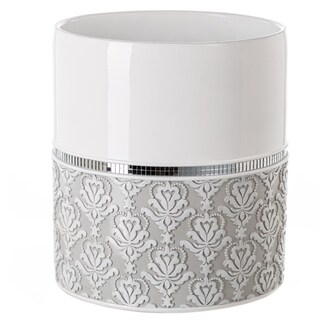 Mirror Damask Bathroom Decorative Wastebasket(Grey & White)