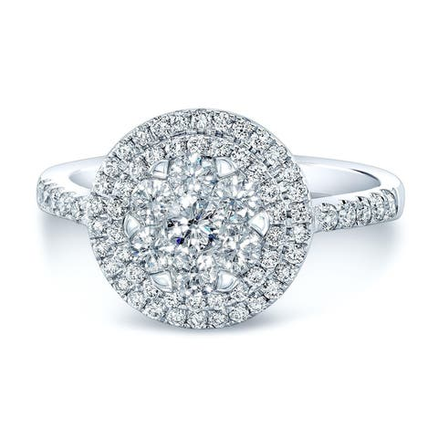14K White Gold Round Cut Diamond (0.87 ct. t.w) Engagement Ring, Size 7