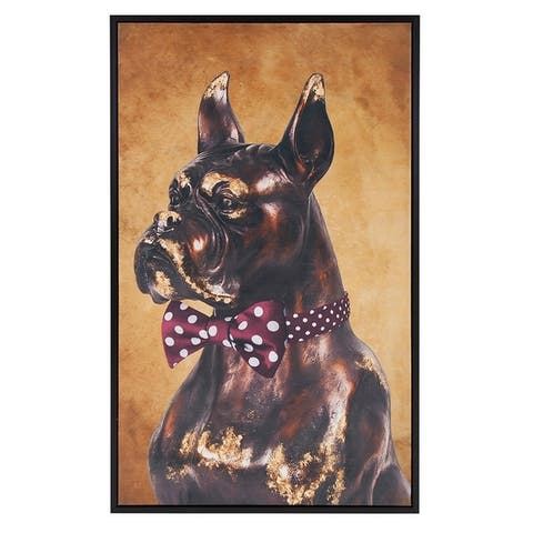 Bow Tie Boxer Canvas Wall Art - Maroon