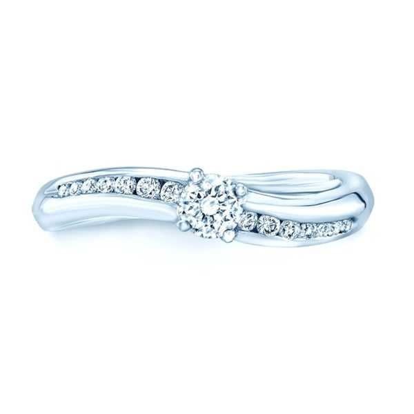 Round Diamond Engagement Ring with Wavy Channel Sidestones in Platinum (1/3 ct. t.w.), Size 7