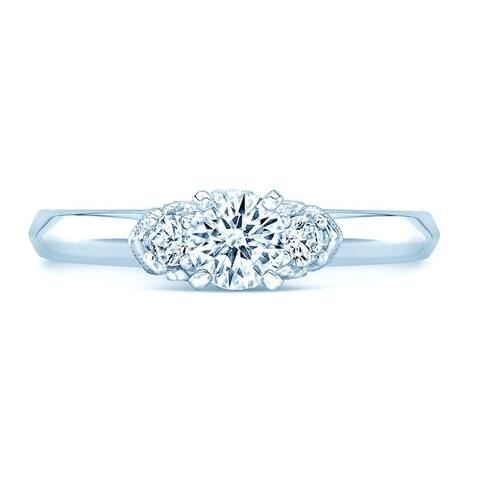 Wedding Band & 3-Stone Diamond Engagement Ring Set With Studded Milgrain Gallery In 14k White Gold (1 ct. t.w.)