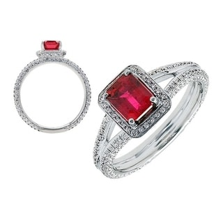 18K White Gold Ruby and Round Cut Diamond (0.71 ct. t.w) Statement Ring, Size 7