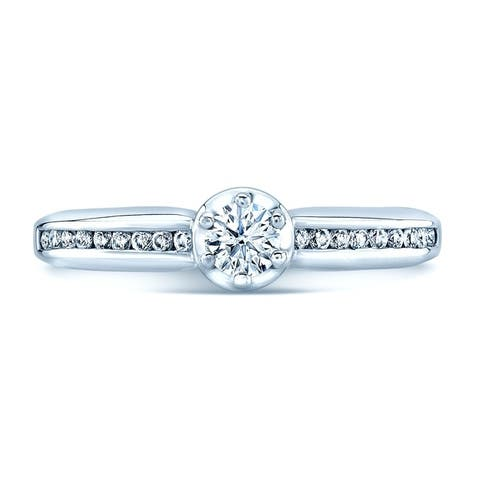 Platinum Round Cut Diamond (0.4 ct. t.w) Engagement Ring, Size 7