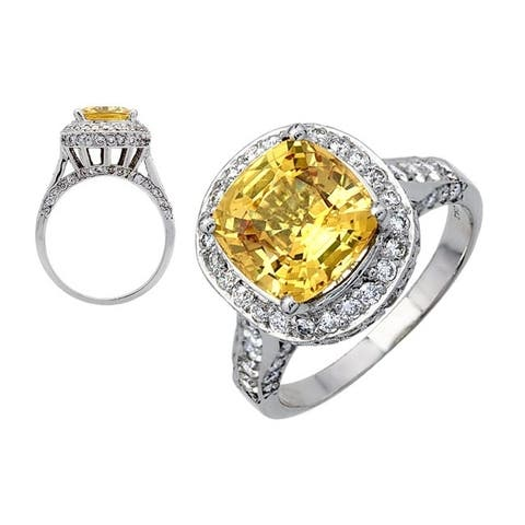 18K White Gold Yellow Sapphire and Round Cut Diamond (1.12 ct. t.w) Statement Ring, Size 6