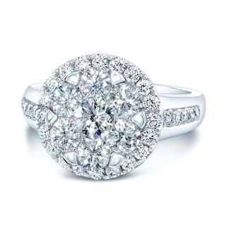 14K White Gold Round Cut Diamond (1.66 ct. t.w) Halo Engagement Ring, Size 7