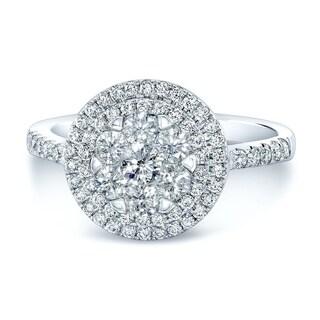 14K White Gold Round Cut Diamond (1.16 ct. t.w) Engagement Ring, Size 7