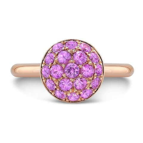 18K Rose Gold Pink Sapphire Cluster Statement Ring, Size 7